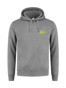 Malelions  Malelions DOUBLE SIGNATURE HOOD. FW20-2-01 Hoodies 216 matt grey/neon yellow
